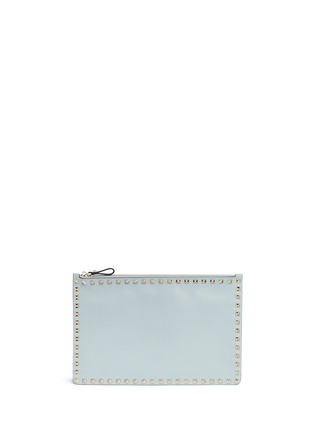 Main View - Click To Enlarge - Valentino - 'Rockstud' large leather flat zip pouch