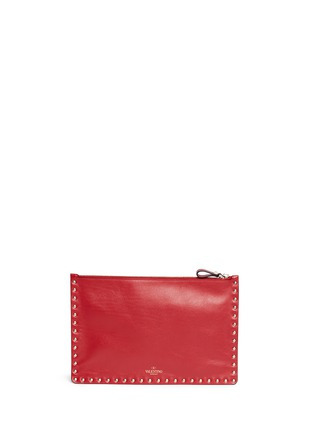 Back View - Click To Enlarge - Valentino - 'Rockstud' large leather flat zip pouch