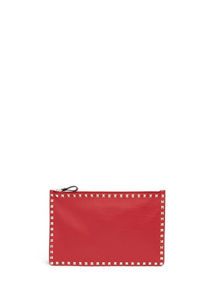 Valentino - 'Rockstud' large leather flat zip pouch