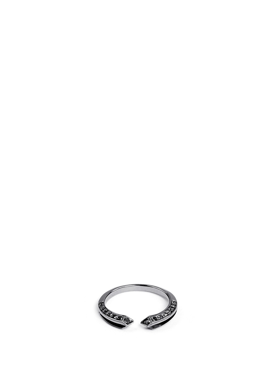 Crious black diamond ruthenium plated 18k gold midi ring by Core Jewels