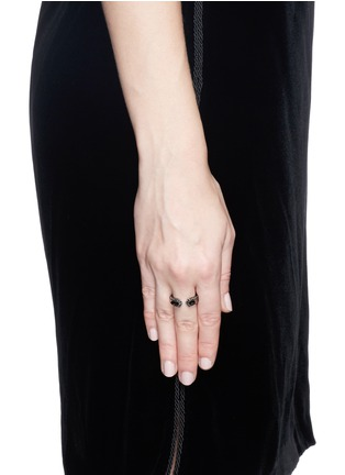 Figure View - Click To Enlarge - Core Jewels - 'Crious' black diamond ruthenium plated 18k gold ring
