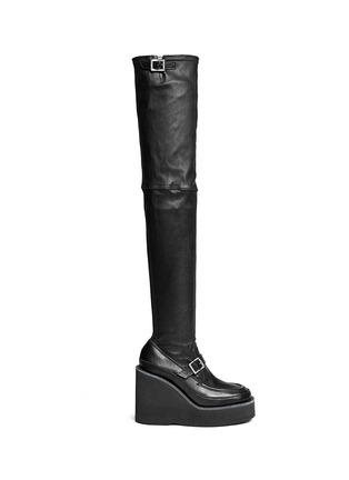 Main View - Click To Enlarge - Sacai - Thigh high leather loafer wedge boots