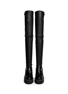 SACAIThigh high leather loafer wedge boots