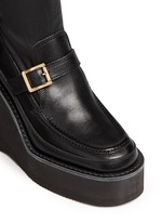 Leather loafer wedge ankle boots