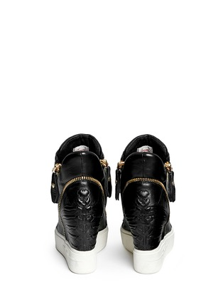 Back View - Click To Enlarge - Ash - 'Alfa' embossed ribcage leather wedge sneakers
