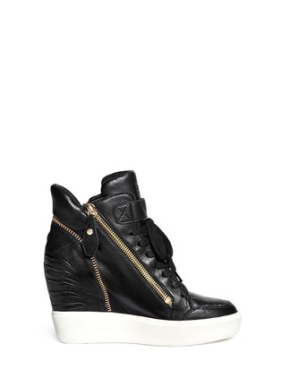 Main View - Click To Enlarge - Ash - 'Alfa' embossed ribcage leather wedge sneakers