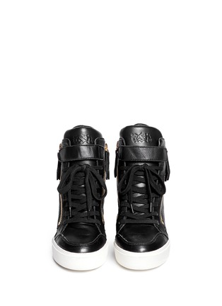 Figure View - Click To Enlarge - Ash - 'Alfa' embossed ribcage leather wedge sneakers
