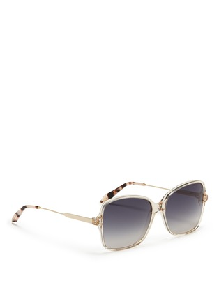 Figure View - Click To Enlarge - Victoria Beckham - 'Marine' metal temple acetate sqaure sunglasses