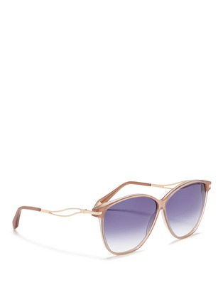 Figure View - Click To Enlarge - Victoria Beckham - 'Vienna' wavy cutout temple acetate sunglasses