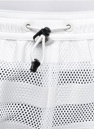 Detail View - Click To Enlarge - Moncler Grenoble - Nylon stripe mesh runner shorts