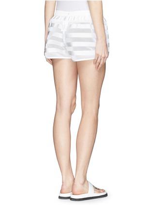Back View - Click To Enlarge - Moncler Grenoble - Nylon stripe mesh runner shorts