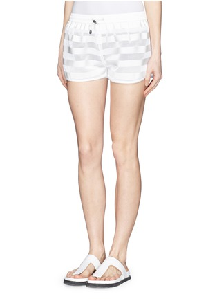Front View - Click To Enlarge - Moncler Grenoble - Nylon stripe mesh runner shorts