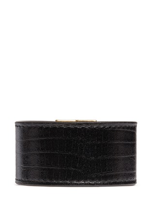 Back View - Click To Enlarge - Alexander McQueen - Skull clasp wide leather bracelet