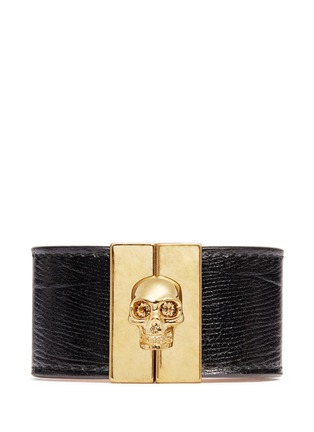 Main View - Click To Enlarge - Alexander McQueen - Skull clasp wide leather bracelet