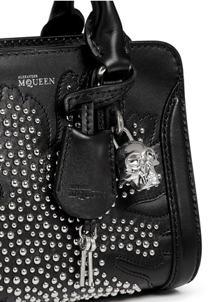 Detail View - Click To Enlarge - Alexander McQueen - 'Padlock' mini floral patchwork stud leather bag