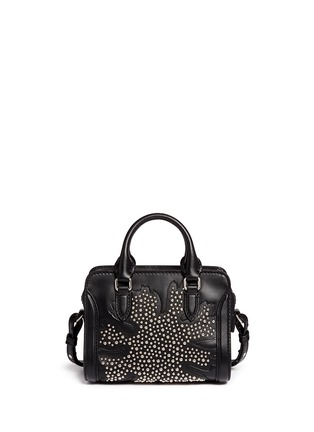 Back View - Click To Enlarge - Alexander McQueen - 'Padlock' mini floral patchwork stud leather bag