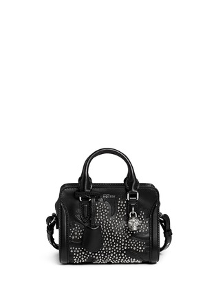 Main View - Click To Enlarge - Alexander McQueen - 'Padlock' mini floral patchwork stud leather bag