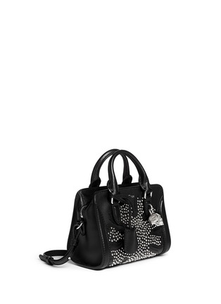 Figure View - Click To Enlarge - Alexander McQueen - 'Padlock' mini floral patchwork stud leather bag