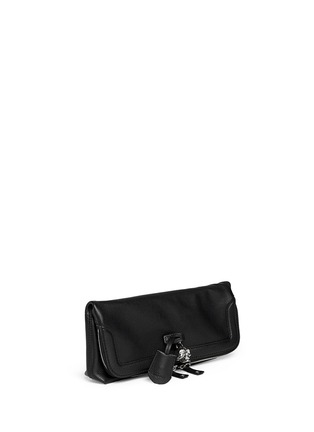 Front View - Click To Enlarge - Alexander McQueen - 'Padlock' leather clutch