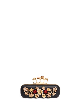 Main View - Click To Enlarge - Alexander McQueen - Metal flower skull knuckle leather box clutch