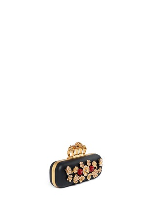 Figure View - Click To Enlarge - Alexander McQueen - Metal flower skull knuckle leather box clutch