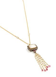 Aishwarya Diamond ruby pearl gold alloy tassel pendant necklace