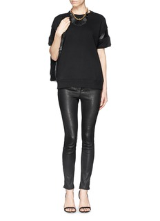 RAG & BONE/JEAN 'Lira' leather insert short sleeve sweatshirt