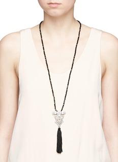 Kenneth Jay LaneTassel glass crystal pavé pendant bead necklace