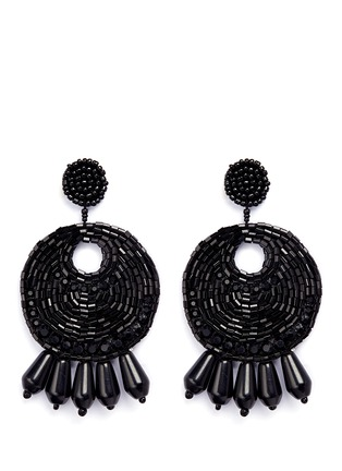 Main View - Click To Enlarge - Kenneth Jay Lane - Beaded gypsy hoop clip earrings