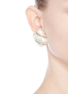Kenneth Jay LaneGlass crystal gold plated shell clip earrings