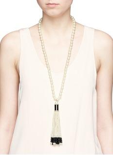 Kenneth Jay LaneBeaded pavé tassel pendant glass pearl necklace