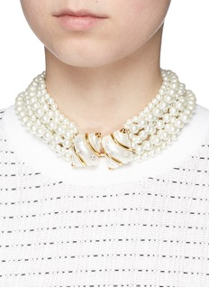 Kenneth Jay Lane Shell charm tiered glass pearl necklace