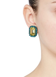 Kenneth Jay LaneEmerald cut stone glass crystal clip earrings