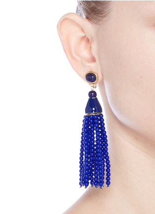 Figure View - Click To Enlarge - Kenneth Jay Lane - Beaded tassel drop clip earrings