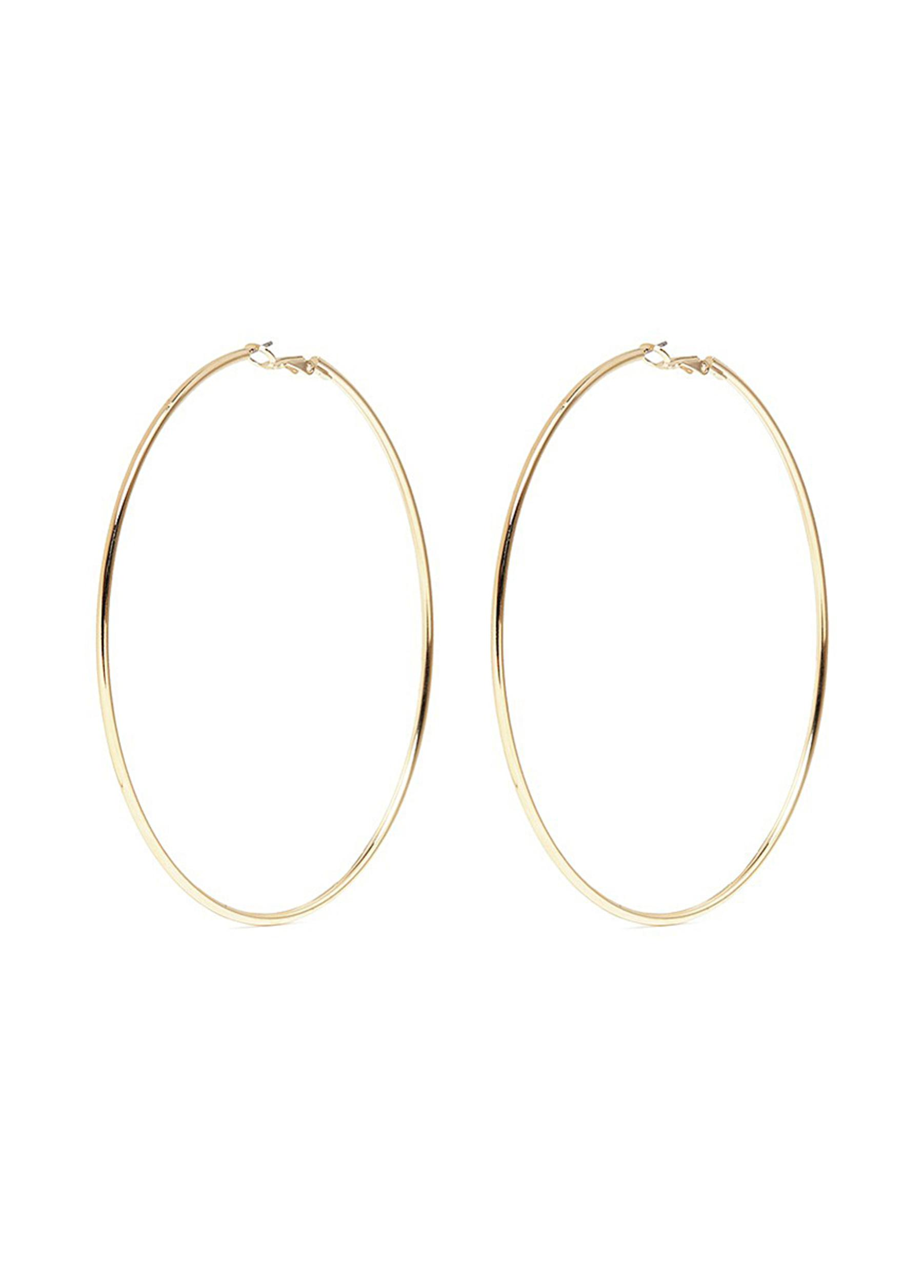 Gold plated large hoop earrings by Kenneth Jay Lane