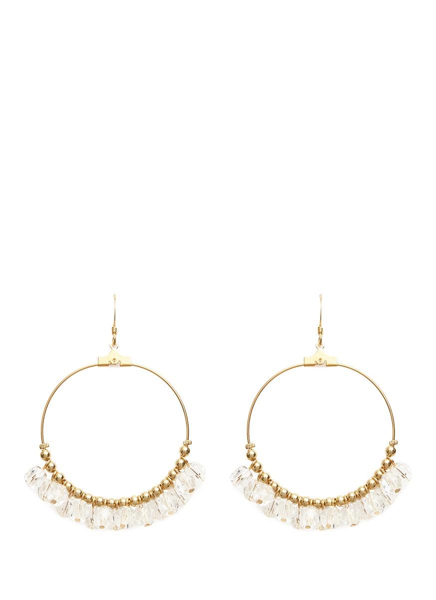 Resin bead gold plated hoop earrings by Kenneth Jay Lane