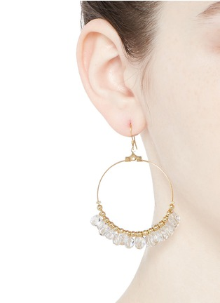 Figure View - Click To Enlarge - Kenneth Jay Lane - Resin bead gold plated hoop earrings