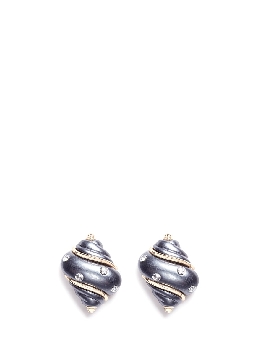 Gold plated glass crystal shell clip earrings by Kenneth Jay Lane