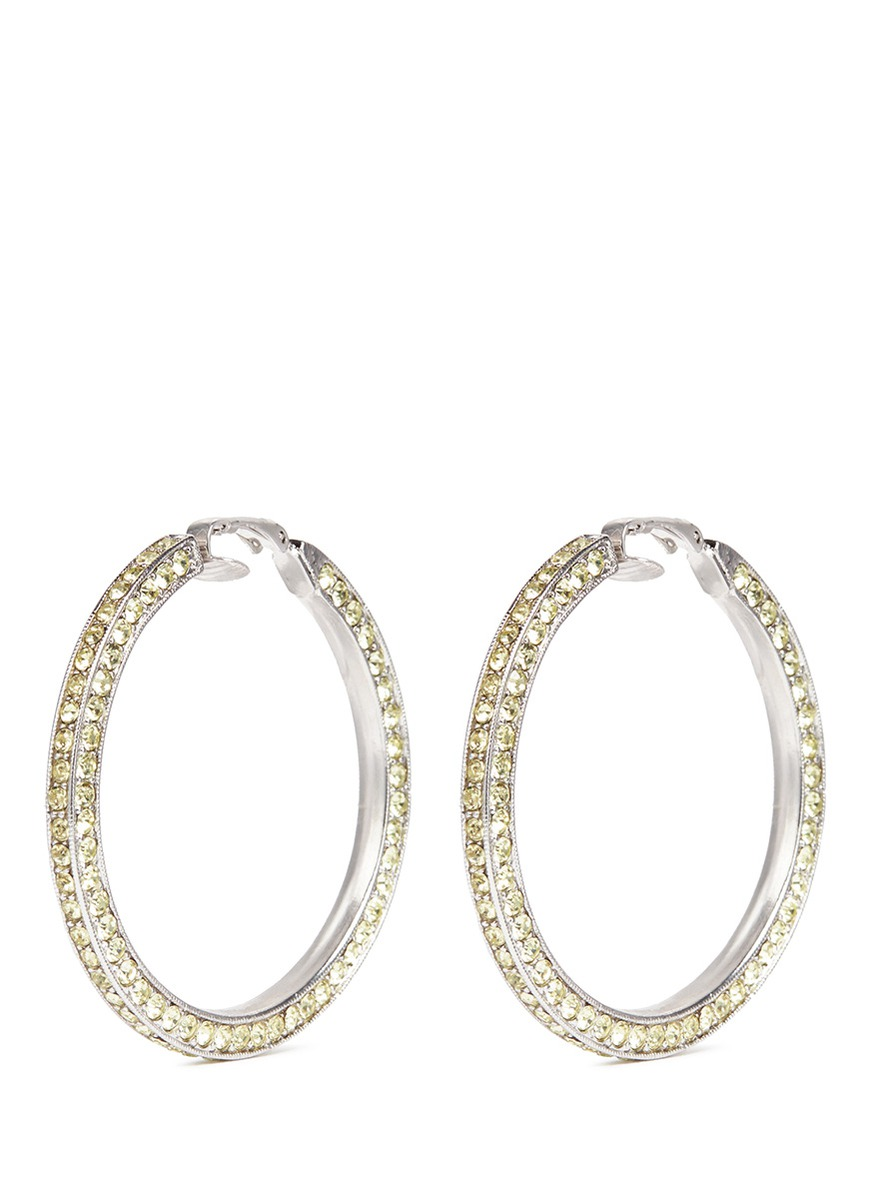 Glass crystal rhodium plated hoop clip earrings by Kenneth Jay Lane