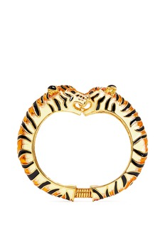 Kenneth Jay Lane Enamel double tiger gold plated cuff