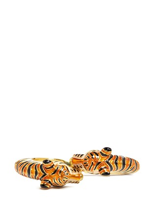 Figure View - Click To Enlarge - Kenneth Jay Lane - Enamel double tiger gold plated cuff