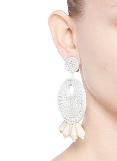 Kenneth Jay LaneBeaded gypsy hoop clip earrings