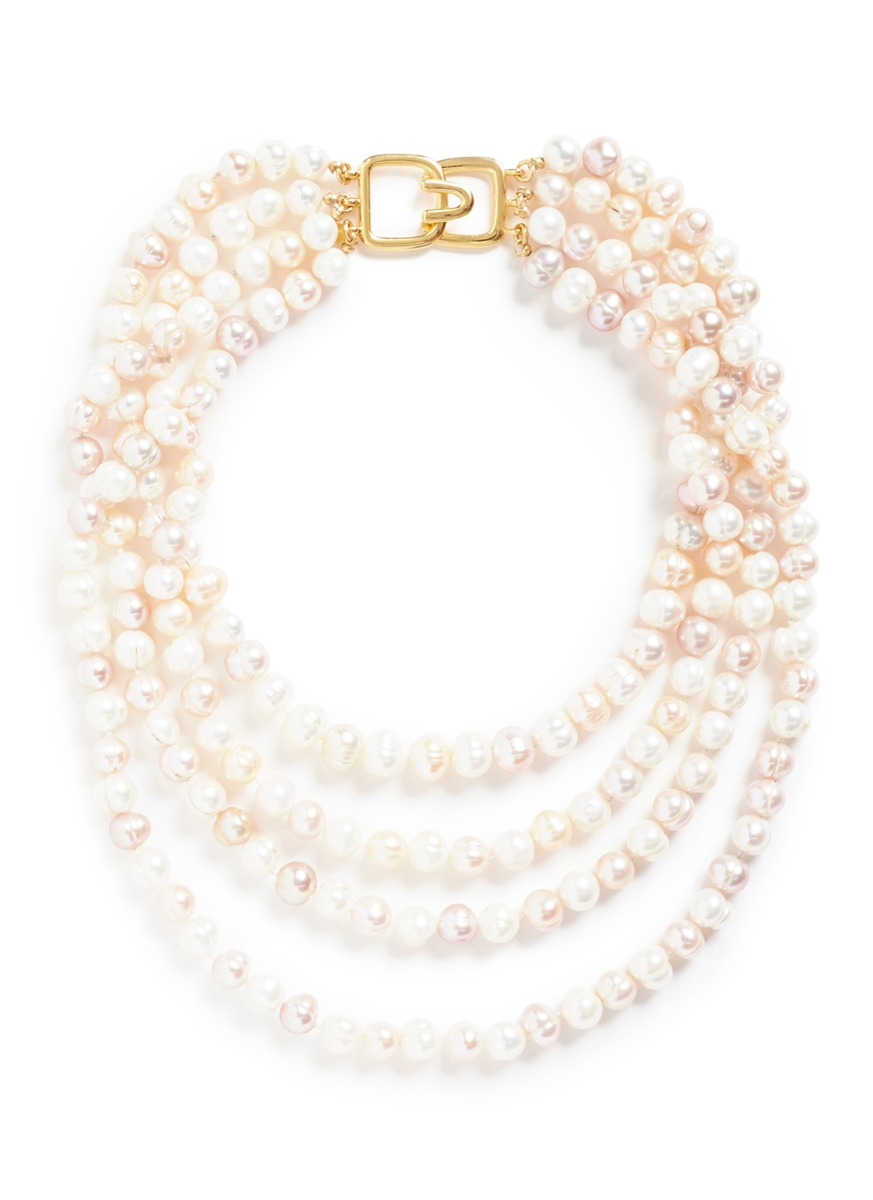 kenneth jay lane female tiered glass pearl necklace