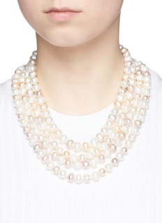 Kenneth Jay LaneTiered glass pearl necklace