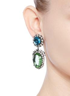 Kenneth Jay LaneGlass crystal pavé oval drop clip earrings