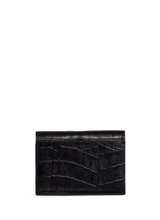 Alexander Wang  Croc embossed leather flap card holder