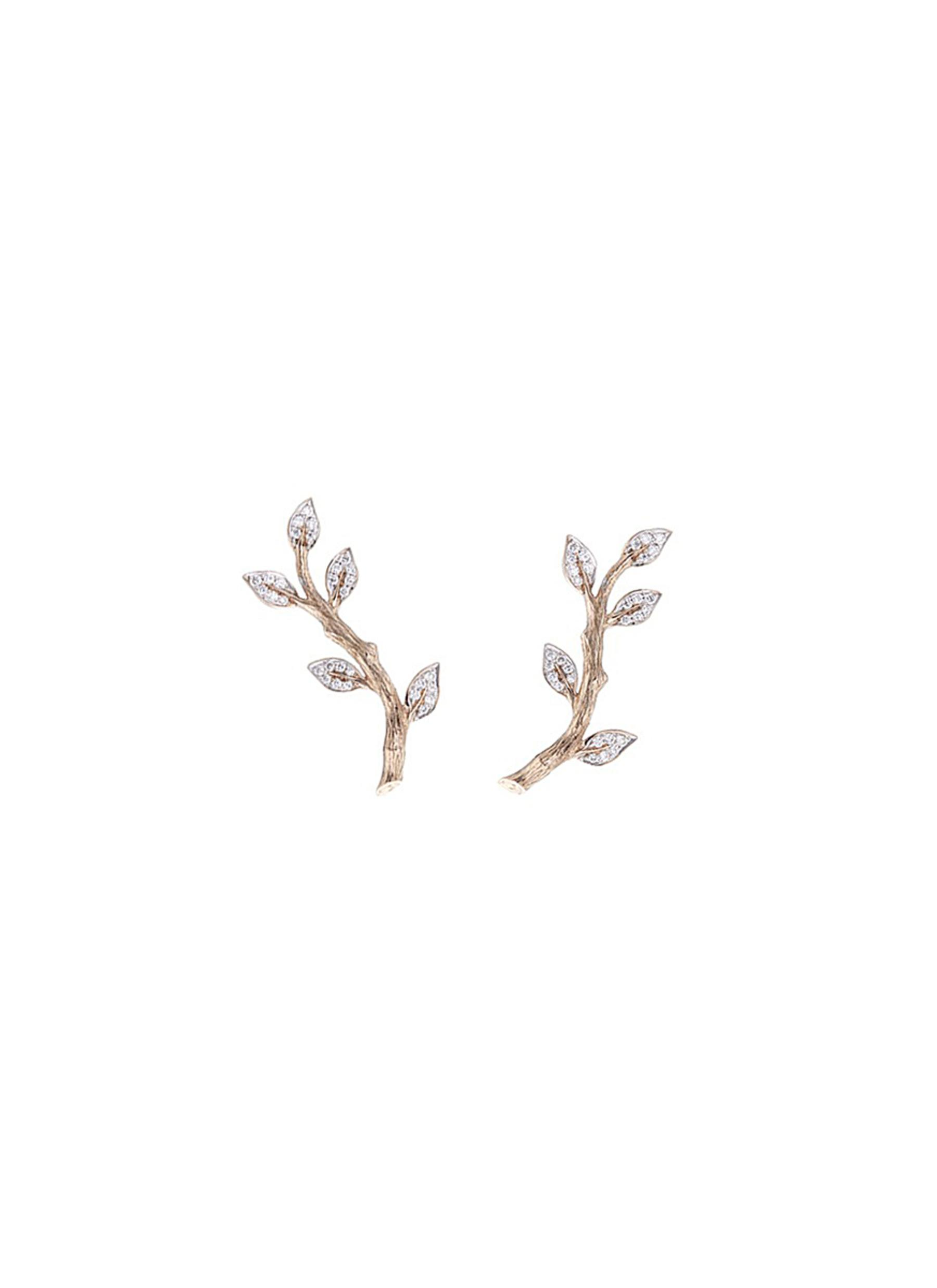 Entwined diamond 18k rose gold climber earrings by Anyallerie