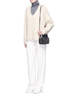 Kara'Tie Crossbody' nano shearling and leather bag