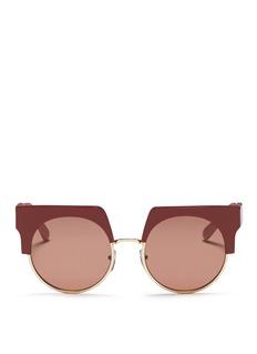 MARNI'Graphic' colourblock brow bar acetate round sunglasses