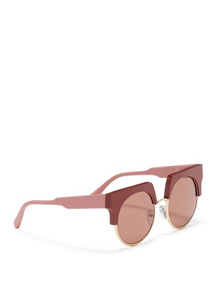 Figure View - Click To Enlarge - Marni - 'Graphic' colourblock brow bar acetate round sunglasses